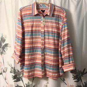 Stripped light weight button down shirt
